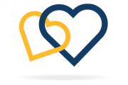 Ein gelbes und ein blaues verbundenes Herz